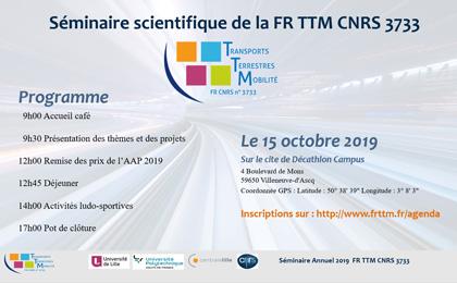 Mardi 15 octobre 2019 > Séminaire Scientifique de la Fédération de Recherche TTM à Lille > Programme et inscription